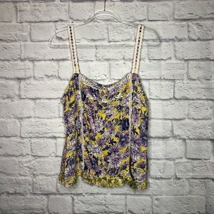 Anthropologie yellow floral lace strap tank